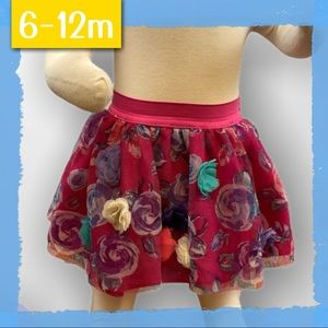 👗Pink floral tulle skirt with elastic waist